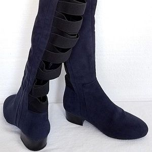 55df3c2be69 Nine West Shoes - Nine West Ooohaah Fabric Back Straps Boot 5.5M NEW